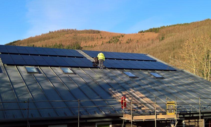 Finishing the solar installation at Knighton Community Centre