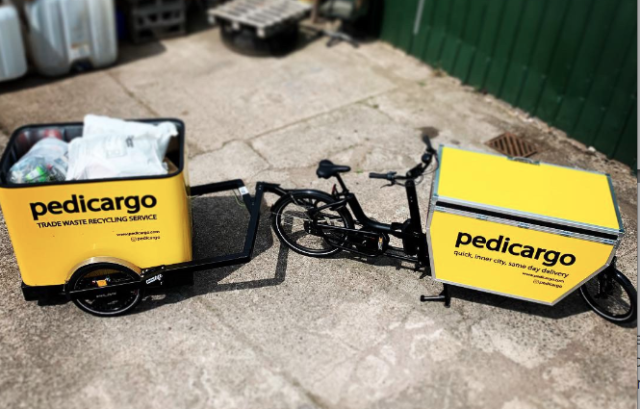 Hereford Pedicabs Bike and Trailer funded by The Naturesave Trust for low emission recycling